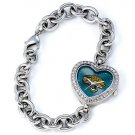 Jacksonville Jaguars Game Time Stainless Steel Rhinestone Ladies Heart Watch