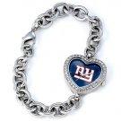 New York Giants Game Time Stainless Steel Rhinestone Ladies Heart Watch