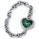 New York Jets Game Time Stainless Steel Rhinestone Ladies Heart Watch