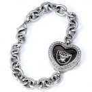 Oakland Raiders Game Time Stainless Steel Rhinestone Ladies Heart Watch
