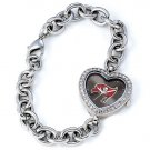 Tampa Bay Buccaneers Game Time Stainless Steel Rhinestone Ladies Heart Watch