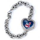 Cleveland Indians Game Time Stainless Steel Rhinestone Ladies Heart Watch