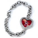 Los Angeles Angels Game Time Stainless Steel Rhinestone Ladies Heart Watch