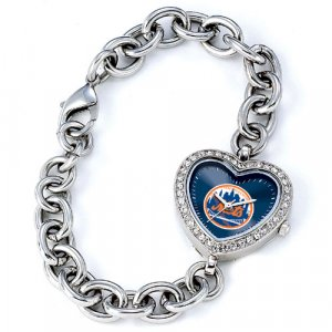 New York Mets Game Time Stainless Steel Rhinestone Ladies Heart Watch