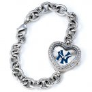 New York Yankees Game Time Stainless Steel Rhinestone Ladies Heart Watch