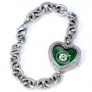 Oakland A's Athletics Game Time Stainless Steel Rhinestone Ladies Heart Watch