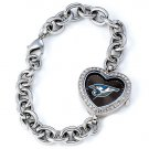 Toronto Blue Jays Game Time Stainless Steel Rhinestone Ladies Heart Watch