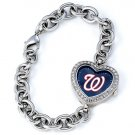 Washington Nationals Game Time Stainless Steel Rhinestone Ladies Heart Watch