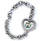 Boston Celtics Game Time Stainless Steel Rhinestone Ladies Heart Watch