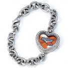 Charlotte Bobcats Game Time Stainless Steel Rhinestone Ladies Heart Watch