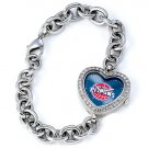 Detroit Pistons Game Time Stainless Steel Rhinestone Ladies Heart Watch