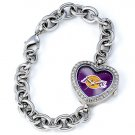 Los Angeles Lakers Game Time Stainless Steel Rhinestone Ladies Heart Watch