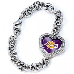 Los Angeles Lakers Game Time Stainless Steel Rhinestone Ladies Heart Watch