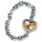 Miami Heat Game Time Stainless Steel Rhinestone Ladies Heart Watch