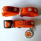 Clemson University Tigers Pet Dog Set Leash Collar ID Tag Medium