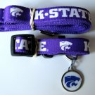 Kansas State University KSU Wildcats Pet Dog Set Leash Collar ID Tag Large