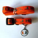 University of Miami Hurricanes Pet Dog Set Leash Collar ID Tag Medium