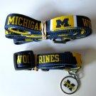 University of Michigan Wolverines Pet Dog Set Leash Collar ID Tag Large