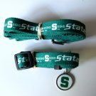 Michigan State University Spartans Pet Dog Set Leash Collar ID Tag Large