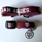 Texas A&M University Aggies Pet Dog Set Leash Collar ID Tag Large