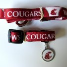 Washington State University Cougars Pet Dog Set Leash Collar ID Tag Large