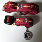 Florida State University FSU Seminoles Pet Dog Set Leash Collar ID Tag Small