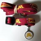 Minnesota University Golden Gophers Pet Dog Set Leash Collar ID Tag Small