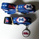 University of Mississippi Ole Miss Rebels Pet Dog Set Leash Collar ID Tag Large