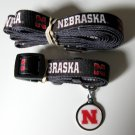 University of Nebraska Cornhuskers Huskers Pet Dog Set Leash Collar ID Tag Medium