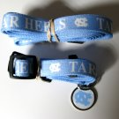 North Carolina University Tarheels Pet Dog Set Leash Collar ID Tag Large