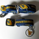 West Virginia University Mountaineers Pet Dog Set Leash Collar ID Tag Small