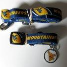 West Virginia University Mountaineers Pet Dog Set Leash Collar ID Tag Medium
