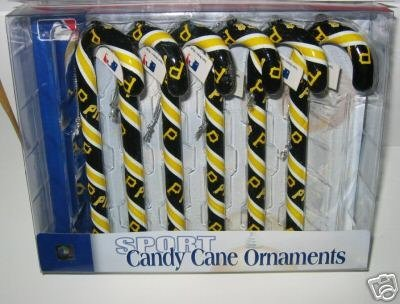 Pittsburgh Pirates Candy Cane Christmas Tree Ornament Set Gift