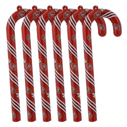 San Francisco 49ers Candy Cane Christmas Tree Ornament Set Gift
