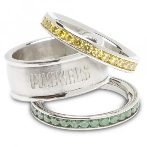Green Bay Packers Team Crystal Stacked Rings Set