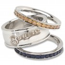 Milwaukee Brewers Team Crystal Stacked Rings Set