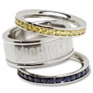University of Michigan Wolverines Team Crystal Stacked Rings Set