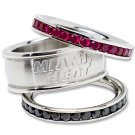 Miami Heat Team Crystal Stacked Rings Set