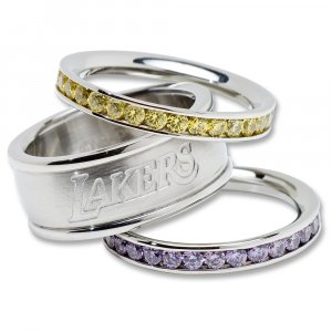 Los Angeles Lakers Team Crystal Stacked Rings Set