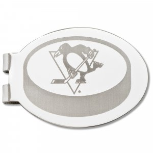 Pittsburgh Penguins Silver Plated Laser Etched Puck Money Clip
