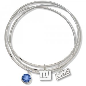 New York Giants Triple Bangle Crystal Logo Charm Bracelets