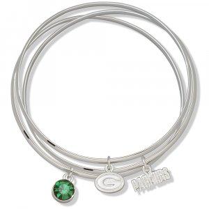 Green Bay Packers Triple Bangle Crystal Logo Charm Bracelets