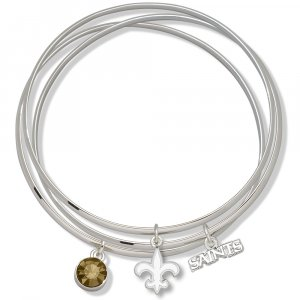 New Orleans Saints Triple Bangle Crystal Logo Charm Bracelets