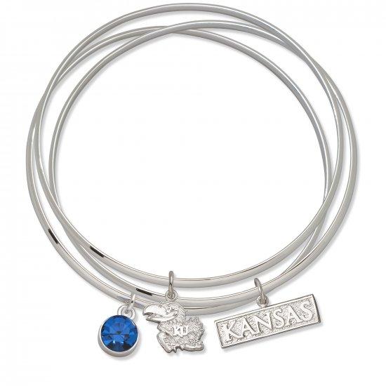 Kansas University Jayhawks Triple Bangle Crystal Logo Charm Bracelets