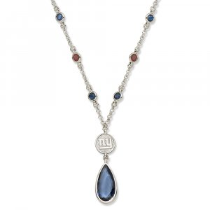 New York Giants Team Color Crystal Logo Necklace