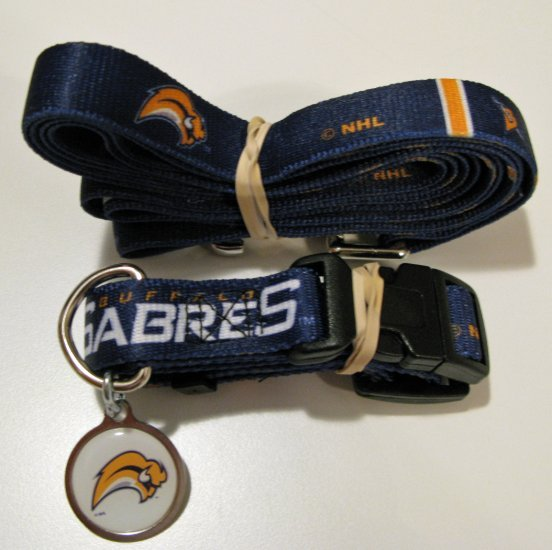 Buffalo Sabres Pet Dog Leash Set Collar ID Tag Gift Size Large
