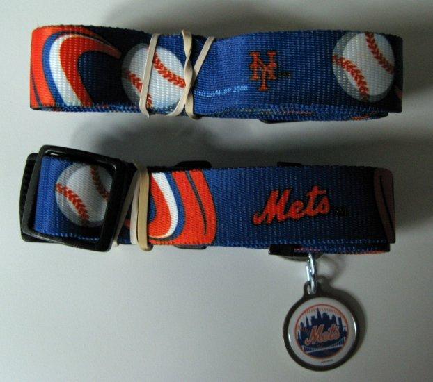 NY New York Mets Pet Dog Leash Set Collar ID Tag Small