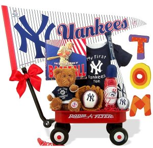 New York Yankees Baby Boy Radio Flyer Wagon Gift Assort.
