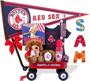 Boston Red Sox Baby Boy Radio Flyer Wagon Gift Assort.