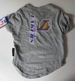 Los Angeles Lakers Pet Dog T-Shirt Tee Gray Large
